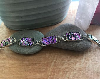 Sterling Silver Purple Dichroic Glass Bracelet