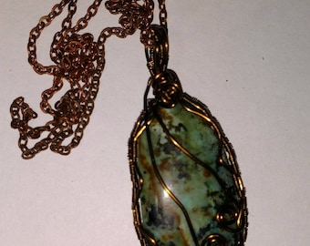 African turquoise wire wrapped pendant cabochon