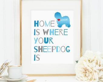 Sheepdog art, Old English Sheepdog dog print, personalized dog art print for your sheep dog, Sheepdog art, gift for dog owners (digital JPG)