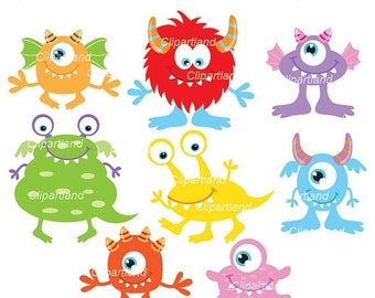 ON SALE INSTANT Download. Cm_31_monsters. Cute birthday monsters clip art. Personal and commercial use.