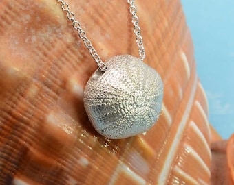 Sea Urchin Pendant, Sterling Silver | Sea Urchin Necklace Beach Jewelry Handmade Beach Wedding Gift Bridal Unique Silver Necklace Nautical