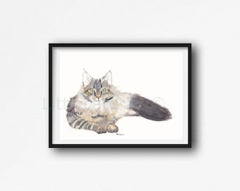 Cat Print Maine Coon Cat Watercolor Painting Print Cat Wall Art Home Decor Cat Lover Gift Bedroom Wall Decor Unframed