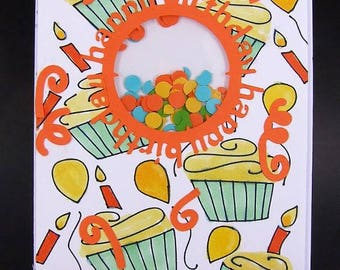 Shaker Birthday Card, Birthday Card, Interactive Birthday Card, Cupcake Card