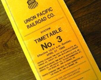 vintage ephemera  ... UNION PACIFIC RAILROAD Timetable No 3 1986 ephemera  ...