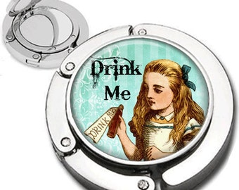 Alice with Poison Bottle from Alice in Wonderland Purse Hook Bag Hanger Lipstick Compact Mirror