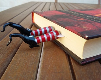 Witch's shoes black and scary bookmark of Witch, original bookmarks with legs of Witch with Striped witch socks, Wicked witch bookmark