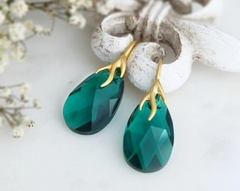 Emerald earrings, Swarovski earrings, Emerald gold earrings, Green crystal teardrop earrings, Rose gold earrings, Sterling Silver earrings 5