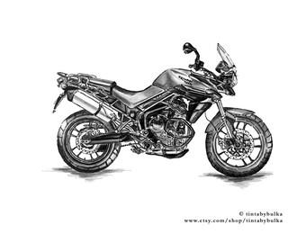 Motorcycle Gift Triumph Gift British Motorcycle Triumph Motorcycle Motorcycle Art Mechanic Gift Triumph Tiger Adventure Bike Bike Print