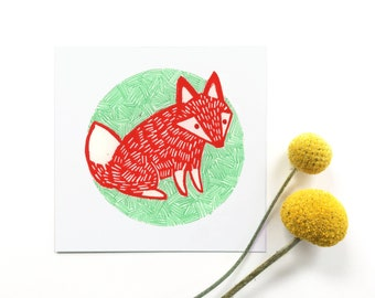 Fox Illustration Linocut Print