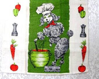Vintage Towel Linen Tea Towel Kitchen Linens Mid Century Poodle Parisian Prints Retro Green Hand Towel Dish Cloth Dish Towel Vintage Linens