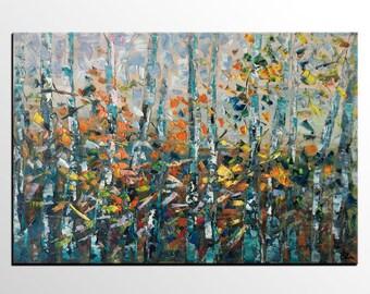 Oil Painting, Landscape Painting, Canvas Painting, Forest Tree Painting, Canvas Art, Abstract Painting, Original Art, Living Room Wall Art