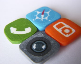 4 iPhone icon magnets - Safari, phone, iPod, camera