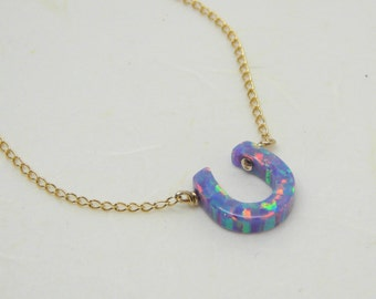 Horseshoe necklace, Lucky necklace, Opal horseshoe necklace, Good luck jewelry, Purple necklace, Everyday necklace