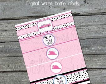 Pink Fire Truck Water Bottle Labels - Girls - Dalmatian - NONPERSONALIZED - firetruck - Instant Download