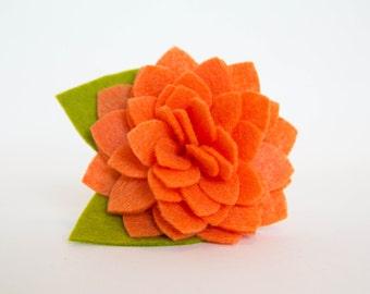 Flower for Dog Collar - Orange Dahlia