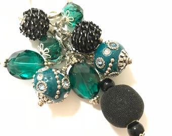 Black Cyan Beaded Key Chain / Purse Charm / Key Fob / Bag Fob / Purse Swag / Handbag Charm / Purse Jewelry