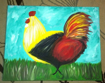 Rooster - Original 16x20 Painting