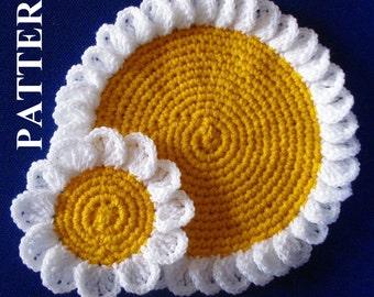 Camomile doily coasters crochet pattern flower crochet pattern coaster crochet pattern doily crochet pattern flowers OlgaAndrewDesigns053