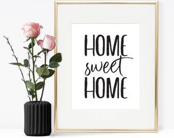 Home sweet home, Printable wall art, Printable quote