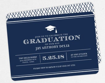 Graduation Invitation, Graduation Announcement, Printable Invite, Invitation PDF, DIY Graduation, Printed, Modern, Boy, Stripes, Navy, Jay