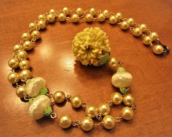 Vintage Pale Yellow Faux Pearl & Molded Celluloid Drop Necklace