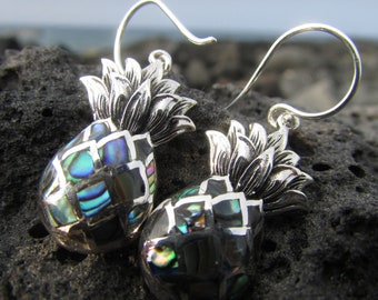 Pineapple Fruit Earrings   Paua Abalone Shell   Sterling Silver   Gift   Jewelry   Handmade   Unique