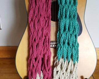 Knit Scarf ||Ready to Ship|| Infinity Knit Scarf ||  Chunky Knit Scarf || Circle Scarf ||  Wool Scarf || Raspberry Spearmint Oat