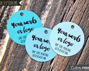 "50 custom tags circle 1.5"", personalized tags, logo tags, product tags, hang tag, bridal shower tags, gift tags, wedding favor tag (T-82)"