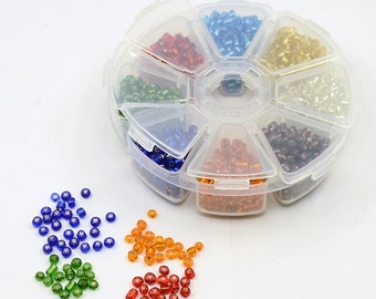1 Mixed Color Silver Lined 6/0 Glass Seed Bead Kits w/Storage (04-B)