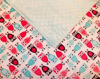 Owl Minky Baby Blanket (Ready to Ship)