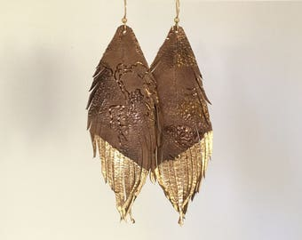 Soft taupe brown LEATHER feather earrings with metallic brown and gold and gold leaf tips leather earrings lightweight dangle earrings