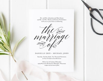 Wedding Invitation Template, Rustic Wedding Invitation, Wedding Printable, Wedding Invite Template, PDF Instant Download #BPB312_1
