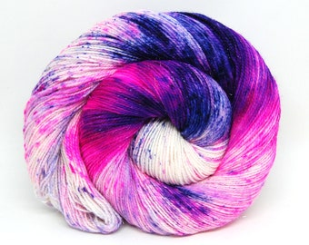 "Glam Rock Sparkle Sock Yarn - ""Neon Lotus"" -  Handpainted Superwash Merino - 438 Yards"