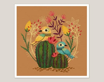 Desert Birds - Art Print 8x8