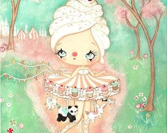 Carousel Print Merry Go Round Bird Art Carnival Girl The Cupcake Carousel Panda Bunny Art