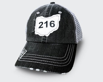 Distressed 216 Cleveland Ohio trucker hat with mesh back
