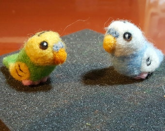 Custom needle felted parakeets