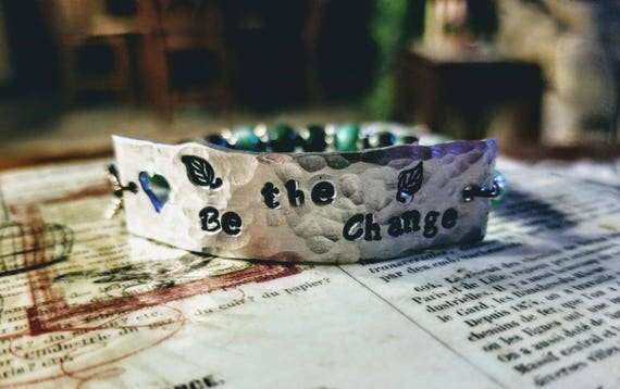 Be the Change - Stamped Metal Mantra Bracelet with Healing Gemstones