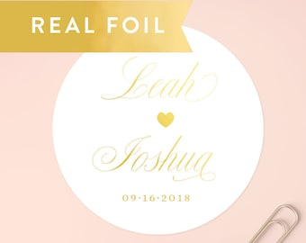 Personalized Foil Stickers, Gold Foil Wedding Stickers, Wedding Favor Stickers, Bridal Shower Favors, Wedding Labels,Save the Date,SET OF 20
