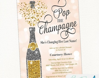 Bridal Shower Invitation | Pop the Champagne She's Changing her Last Name | Champagne Invitation | Bachelorette Party | Engagement Party