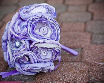 Custom Build Your Own Satin Button Bouquet Bridal Order
