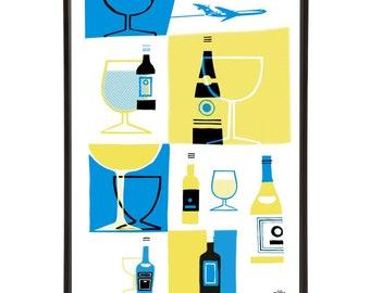"Jet Set Drinks pop art print - the ""Mid-Century Jet Set"" collection inspired by retro air travel - Bar Cart Art"