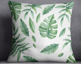 Green leaves pillow cover, Watercolor technique, 20x20, 16x16, Palm tree decor, Nature, Tropical, Gift, Minimalistic, Cushion, Throw pillow,