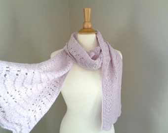 Hand Knit Cashmere Scarf, Lavender Purple, Extra Long, Lace Lacy Wrap Scarf, Luxury Natural Fiber, Elegant Long Scarf
