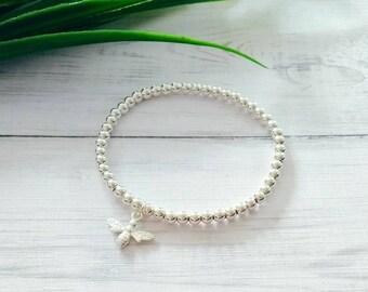 Sterling Silver Bee Bracelet, Silver Bee Charm, Silver Beaded Bracelet, Stretch Bracelet, Stacking Bracelet