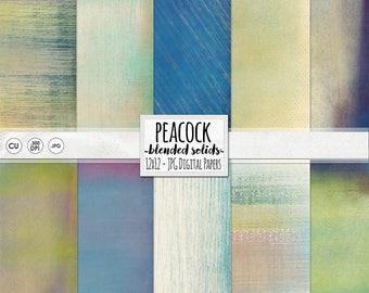 Peacock Digital Paper, Jewel Tone Background Paper, Ombre Paper Download, Gradient Purple, Blue & Green Textured, CU DIY Printable Paper