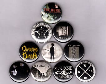 """Goth 1"""" Pins/Buttons w/ Joy Division, Bauhaus, Sisters of Mercy, The Cure, Siouxsie, Christian Death, and More"""