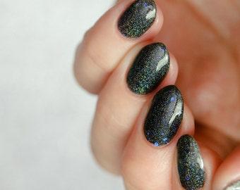 Dementor - custom Harry Potter inspired black holo holographic navy blue glitter nail polish