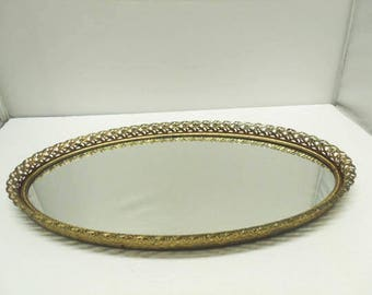 Oval Vanity Mirror Tray With Ornate Brass Floral Filigree Designs & Clean Purple Felt Back