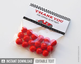 Car Race Party - Thank You Labels - Treat Bag Labels - INSTANT DOWNLOAD - Printable PDF with Editable Text